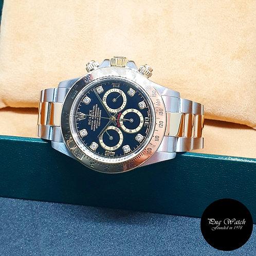 Rolex 18K Half YG Zenith Movement Black Diamonds Daytona REF: 16523 (P)