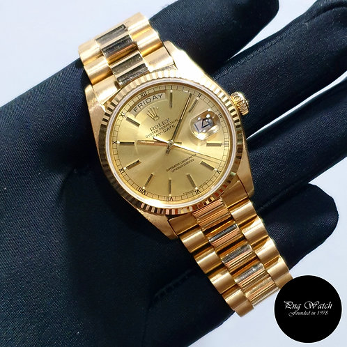 Rolex 36mm 18K Yellow Gold Champagne Indexes Day-Date REF: 18038 (2)