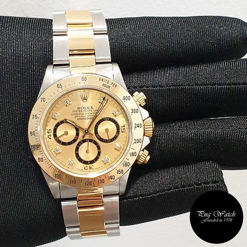 "Rolex 18K Half Gold ""Inverted 6"" Zenith Mvt Champagne Diamonds 16523"