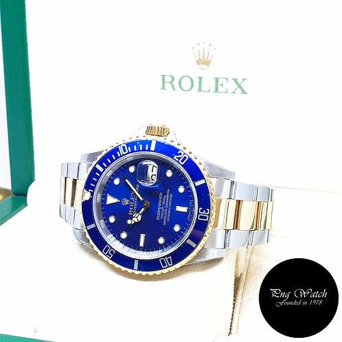 Rolex 40mm Discontinued 18K Half Gold Blue Submariner Date REF: 16613 (N)