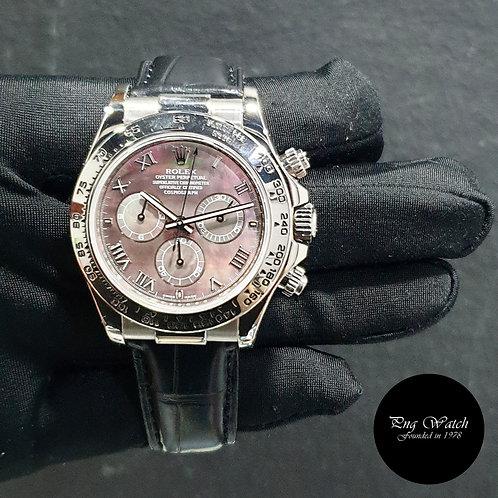 Rolex Oyster Perpetual 18K Full White Gold Black MOP Daytona REF: 116519 (06)(2)