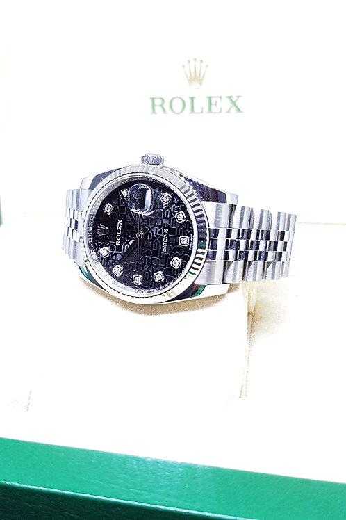 Rolex Oyster Perpetual Black Computer Diamonds Datejust REF: 116234