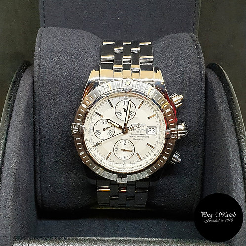 Breitling Silver Chronomat Evolution Chronograph Watch REF: A13356