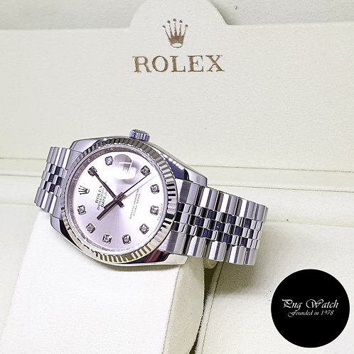 Rolex Oyster Perpetual 36mm Silver Diamonds Datejust REF: 116234 (M Series)