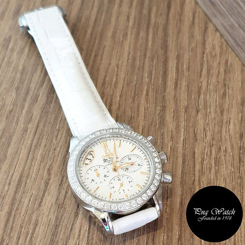 Omega White De Ville Diamonds Chronograph Watch REF:  422.18.35.50.05.001 (2)