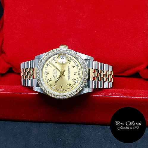 Rolex OP 18K Half Gold Champagne Roman Diamonds Datejust REF: 68273