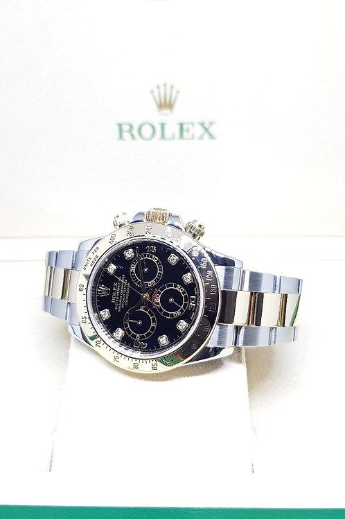Rolex 18K Half Gold Black 8Pt Diamonds Cosmograph Daytona REF: 116523