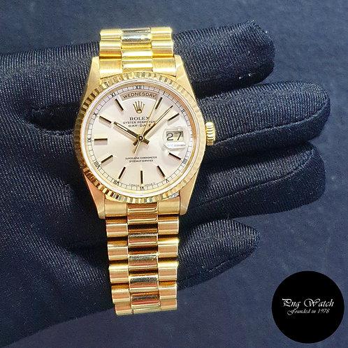 Rolex 18K Full Yellow Gold Silver Baton Day-Date REF: 18238 (2)