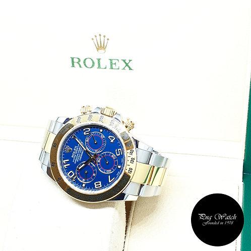 Rolex Perpetual 18K Half Gold Blue Arabic Cosmograph Daytona REF: 116523 (2015)