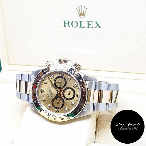 Rolex 18K Half Gold Zenith Mvt Champagne Diamonds Daytona REF: 16523 (T)