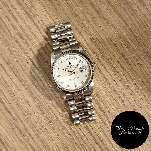 Rolex Oyster Perpetual 18K White Gold Diamonds Day-Date REF: 18239 (2)