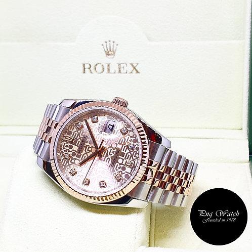 Rolex OP 18K Half Rose Gold Champagne Pink  10PT Big Dia  Datejust REF: 116231