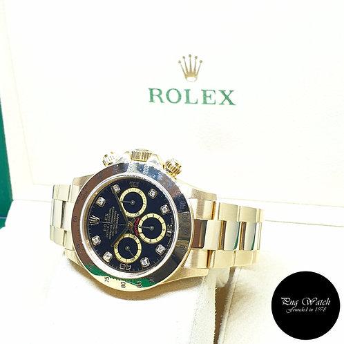 "Rolex 18K Yellow Gold Zenith Mvt ""Inverted 6"" Black Diamonds Daytona REF: 16528"