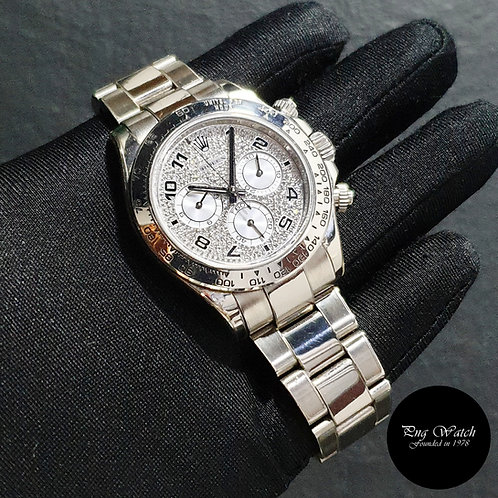 Rolex Oyster Perpetual 18K White Gold Pave Diamonds Daytona REF: 116509 (M)(2)
