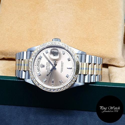 "Rolex OP 18K Gold ""TRIDOR"" Champagne Brown Vignette Diamonds Day-Date REF: 18129"