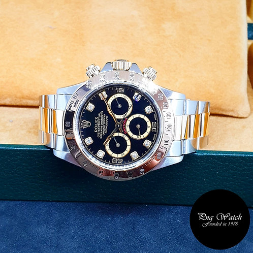 "Rolex OP 18K Half Gold Black ""Inverted 6"" Diamonds Daytona REF: 16523"