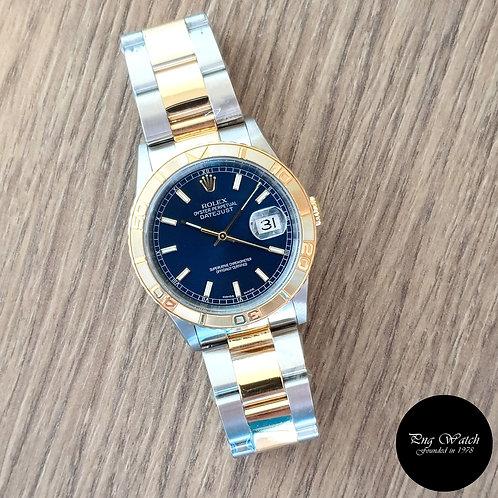 "Rolex 18K Half Gold Blue Wide Boy Datejust ""Turn-O-Graph"" REF: 16263 (2)"