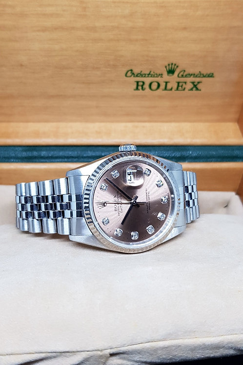 Rolex Oyster Perpetual 8PT Diamonds Champagne Brown Datejust REF: 16234