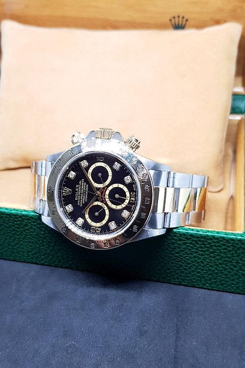 "Rolex 18K Half Gold Black Diamonds Zenith ""Inverted 6"" Daytona REF: 16523"