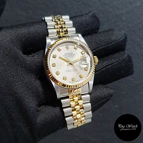 Rolex 18K Half Gold Grey Computer Diamonds Datejust REF: 16233 (2)