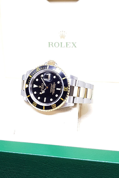 Rolex 18K Half Gold Black Submariner (Z series) REF: 16613