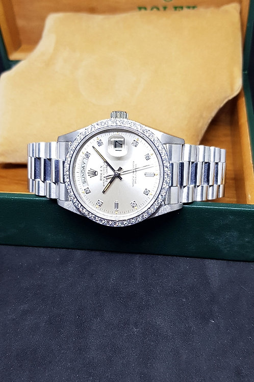 Rolex 18K Solid White Gold Diamonds DayDate REF: 18049