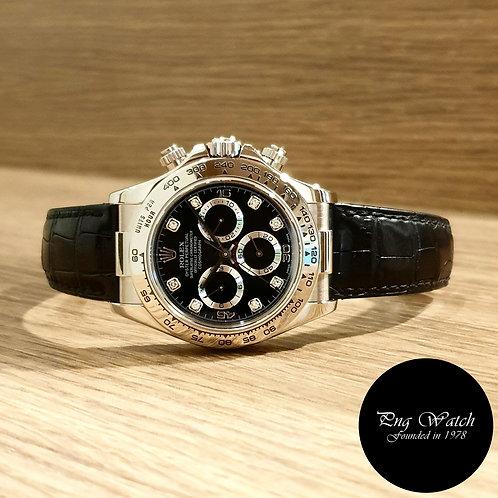 Rolex 18K White Gold Black Diamonds Daytona REF: 116519 (2)
