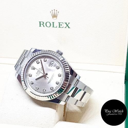 Rolex Oyster Perpetual Silver Diamonds 41mm Datejust II REF: 116334 (2011)
