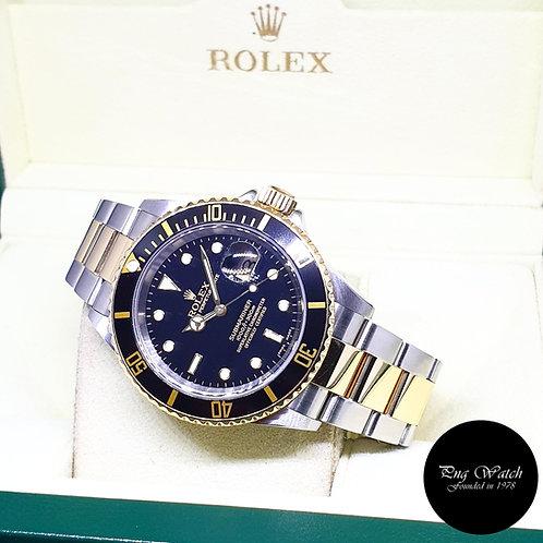 Rolex Oyster Perpetual 18K Half Gold Black Submariner (D Series) REF: 16613