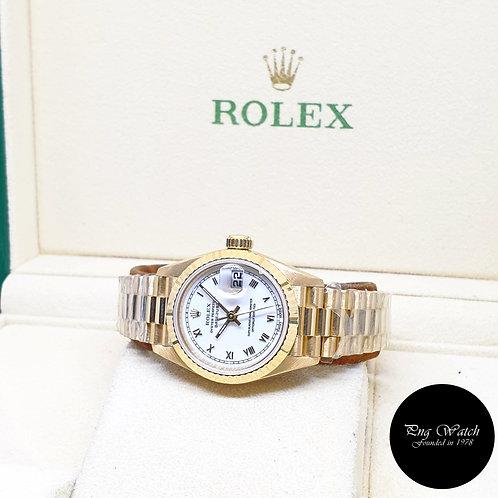 Rolex 26mm 18K Yellow Gold White Roman Datejust REF: 69178 (T Series)
