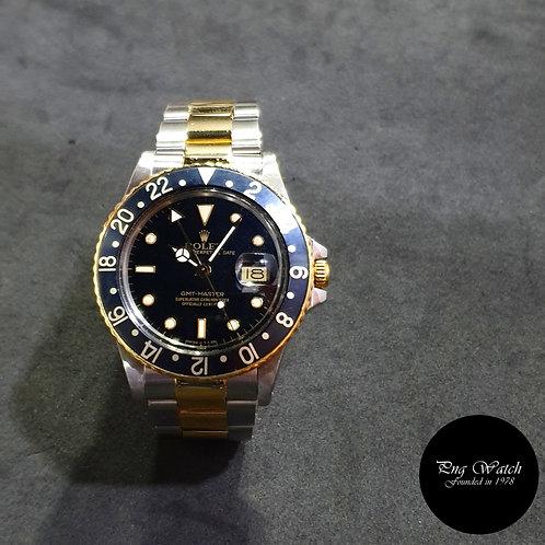 Rolex OP 18K Half Gold Tritium Black GMT Master REF: 16753 (9.57)(2)