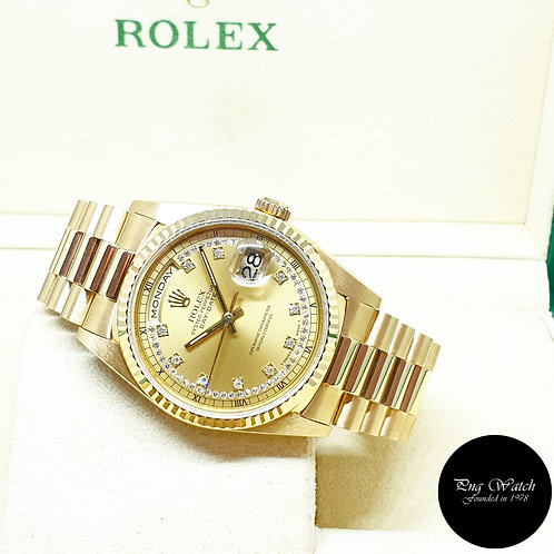 Rolex OP 18K Yellow Gold Champagne String Diamonds Day-Date REF: 18238