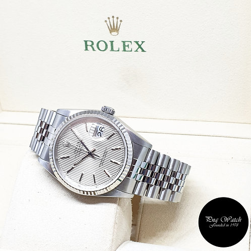 Rolex Oyster Perpetual 36mm Silver Tapestry Indexes Datejust REF: 16234