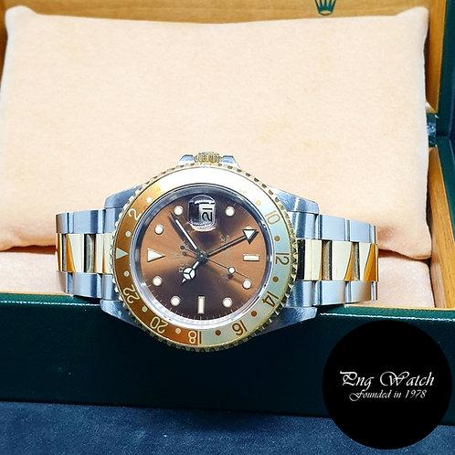 """Rolex 18K Half Gold Tritium """"Rootbeer"""" GMT Master 2 REF: 16713"""