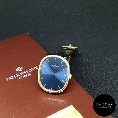 Patek Philippe 18K Yellow Gold Blue Manual Winding Golden Ellipse REF: 3848