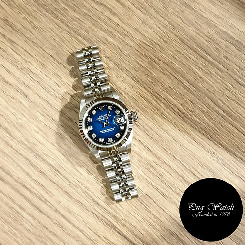Rolex Oyster Perpetual 2 Tone Blue Ladies Diamonds Datejust REF: 69174 (2)