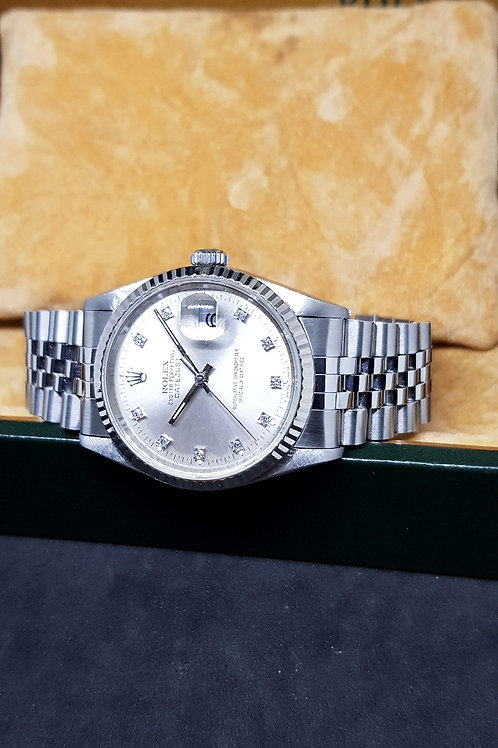Rolex Oyster Perpetual Silver 10PT Diamonds Datejust REF: 16234