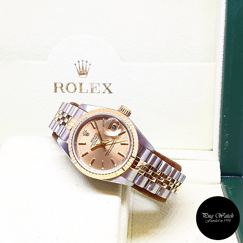 Rolex Oyster Perpetual 18K Half Gold 26mm Champagne Indexes Datejust REF: 69173