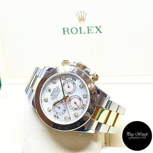 Rolex Oyster Perpetual 18K Half Gold MOP Diamonds Daytona REF: 116523 (2016)