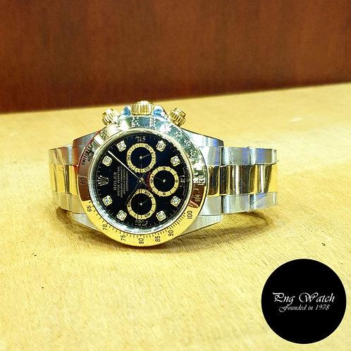 Rolex 18K Half Gold Zenith Movement Black Diamonds Daytona REF: 16523 (2)