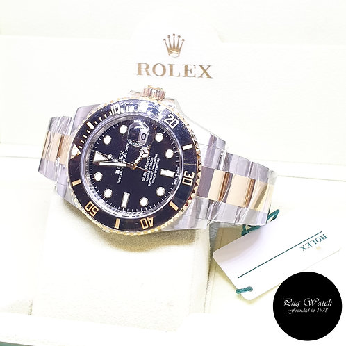 Rolex Oyster Perpetual 41mm 18K Half Gold Black Submariner Date REF: 126613LN