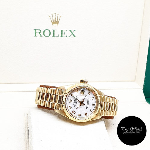 "Rolex 18K Yellow Gold ""QUEEN"" 26mm Ladies Beige Arabic Datejust REF: 6917"