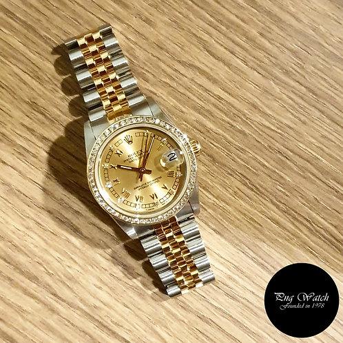 Rolex OP 18K Half Gold Champagne Roman Diamonds Datejust REF: 68273 (2)