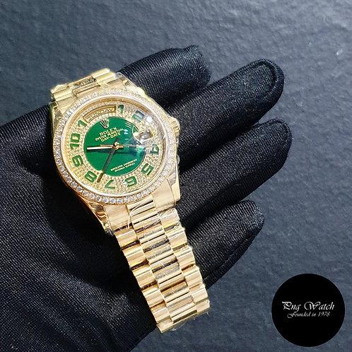Rolex 18K Yellow Gold Factory Green Enamel Pave Diamond Dial REF: 118348 (2)