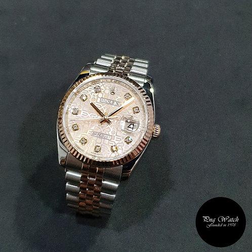 Rolex OP 18K Half Rose Gold Champagne Pink  10PT Big Diamonds 116231 (2)
