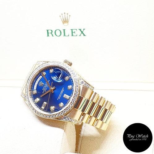 Rolex OP 18K Yellow Gold Blue Diamonds Day Date REF: 118388 (V)