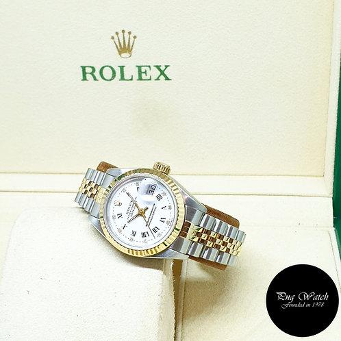 Rolex 18K Half Gold 26mm Ladies White Roman Diamonds Datejust REF: 69173
