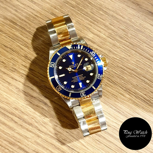 Rolex Oyster Perpetual 18K Half Gold Blue Submariner REF: 16613 (2)