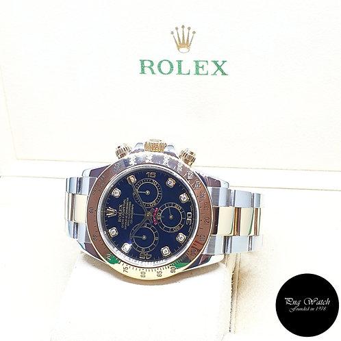 Rolex 18K Half Yellow Gold Black Diamonds Daytona REF: 116523 (K Series)