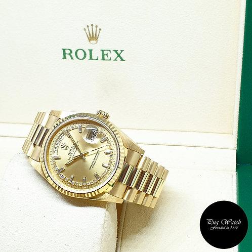 Rolex 18K Yellow Gold Champagne String Diamonds Day-Date REF:  18238